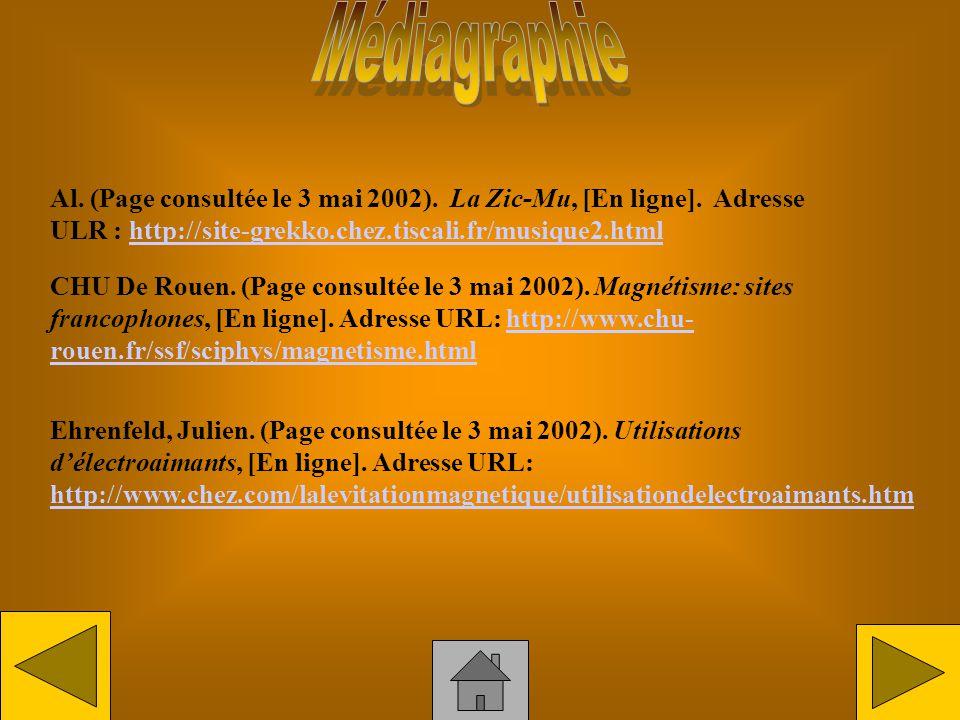 Médiagraphie Al. (Page consultée le 3 mai 2002). La Zic-Mu, [En ligne]. Adresse ULR : http://site-grekko.chez.tiscali.fr/musique2.html.